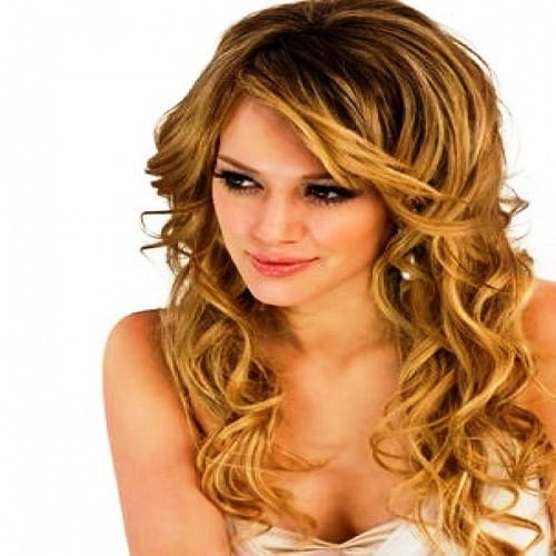 Curly Haircut with Side Bangs