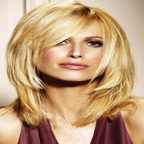 Razored Layered with Inverted Lob Medium Length Hairstyles