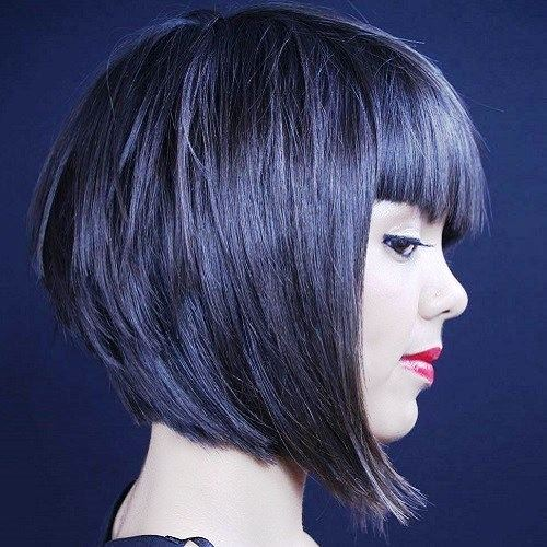 Blue Short Bob with Lots of  Layers
