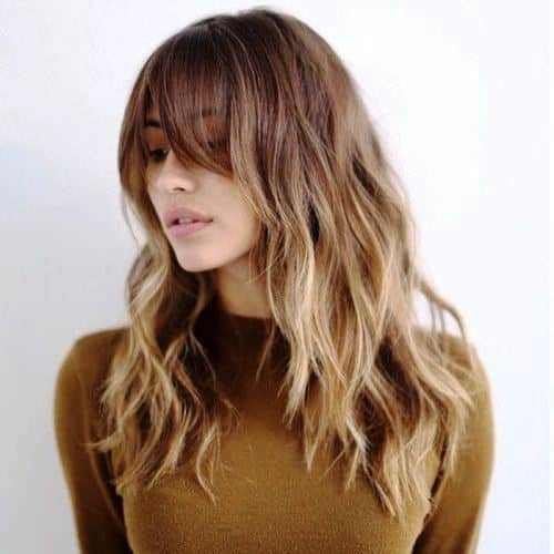 Loose, Messy Curls with Bangs