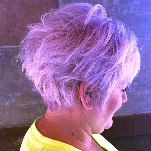 Messy Lilac Hairstyle for Short Hair