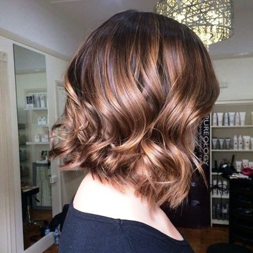 Short Warm Pink Balayage with Side-Swept Curls