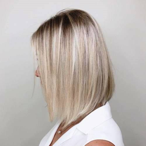 A-shaped Bob Cut with Highlights