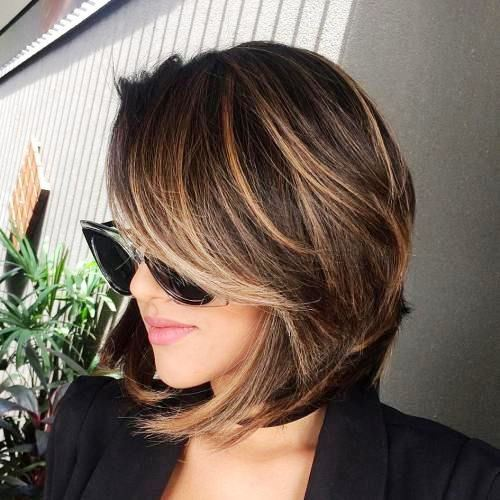 Caramel Low Lights with Angled Bangs