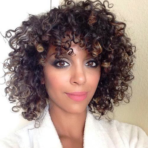 Curls with Layered Bangs