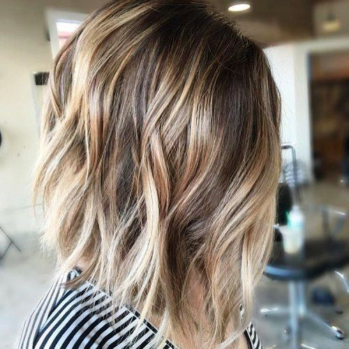 Inverted Choppy Bronde Mid-Length Bob