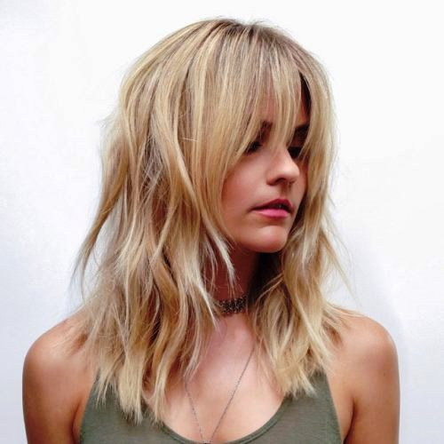 Layered Lob with Soft Shaggy Bangs