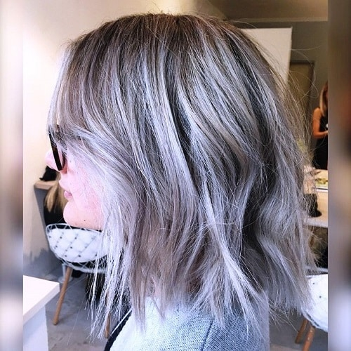 Medium Silver Layered Hairstyle