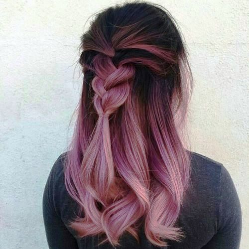 Ombre Color with Fishtail Braid Style