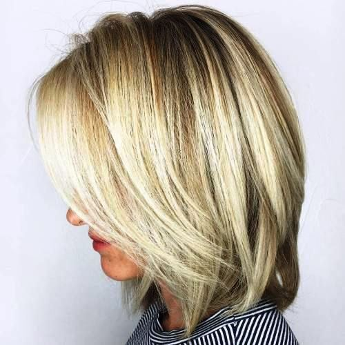Platinum Blonde Bob with Teased Ends
