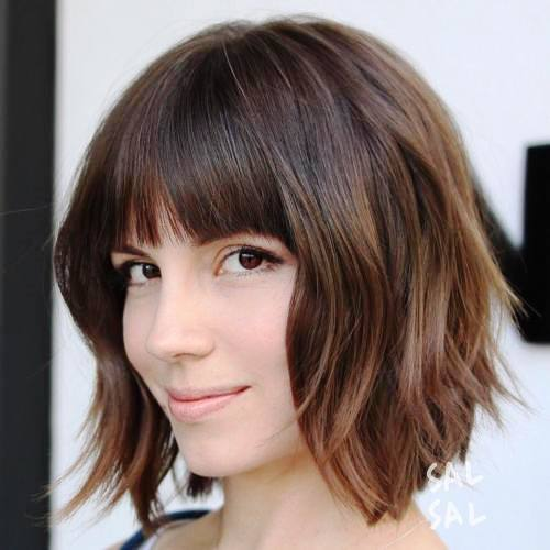 Textured Medium Bob Haircut with Fringes