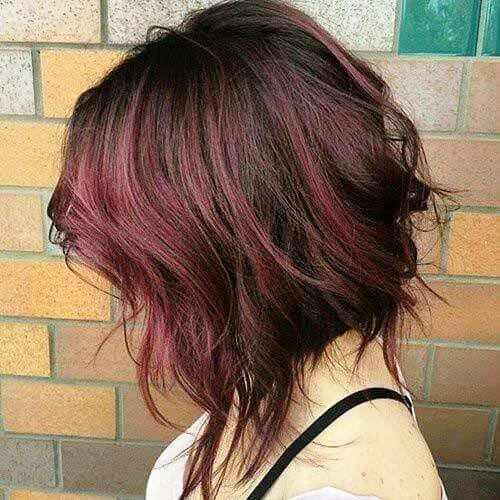 Voluminous Bob with Ombre Red Highlights