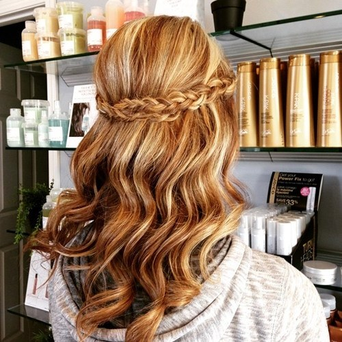 Wavy Half-Updo with French Long Braids