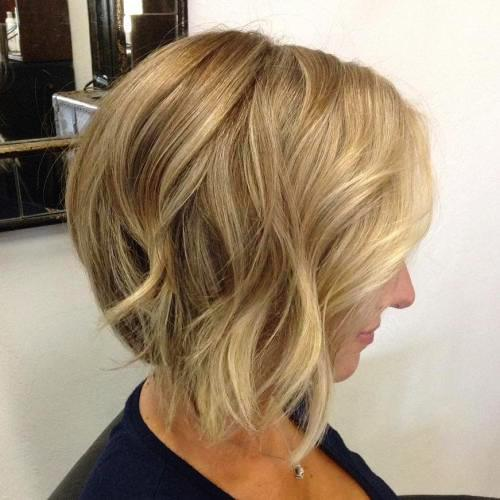 Blonde Balayage Short Bob Hairstyle with Darker Roots