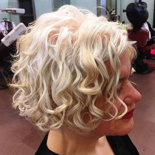 Curly Blonde Short Bob