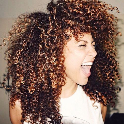 Curly Haircut with Copper Dye for Black Girls