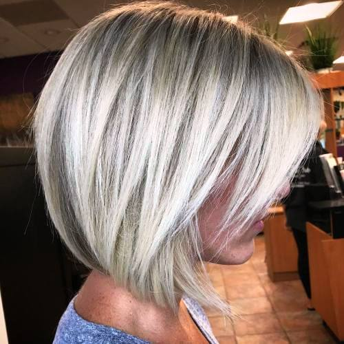 Gray Razored Bob along with Bangs