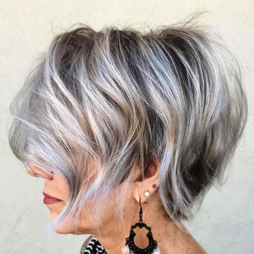 Messy Short Bob Hairstyle with Bouncy Feathers