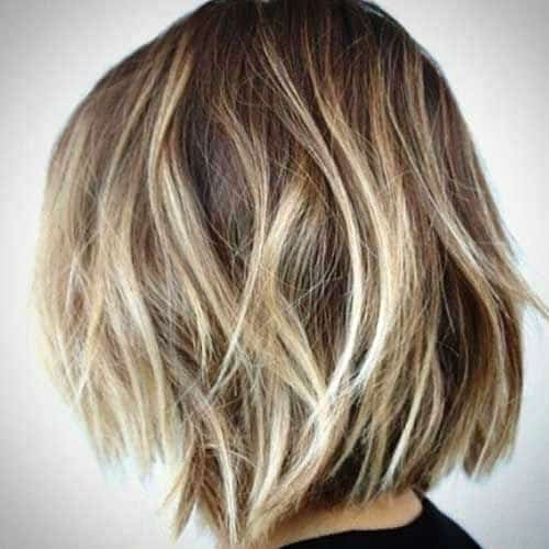 Messy Short Bob with Blonde Highlights