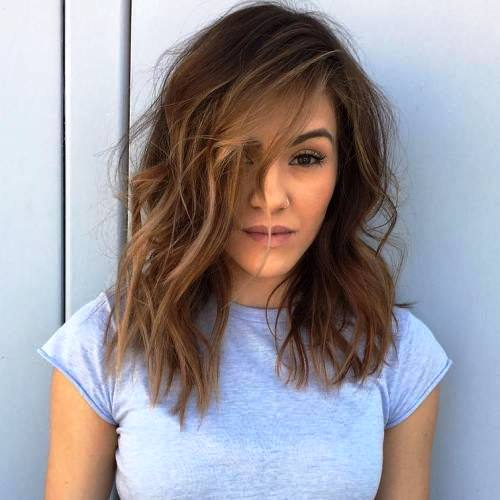 Middle Parted Medium Length Lob