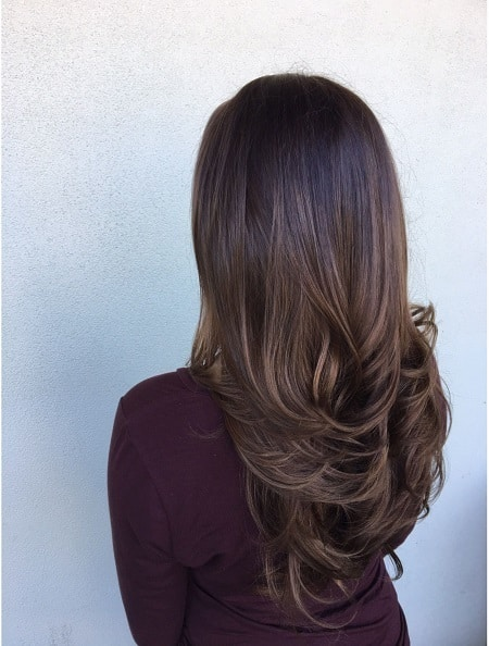 Stunning Long Layers with Mocha Ombre