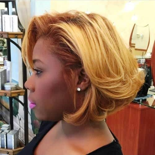 Super Short Haircut for Black Women with Blonde Highlights