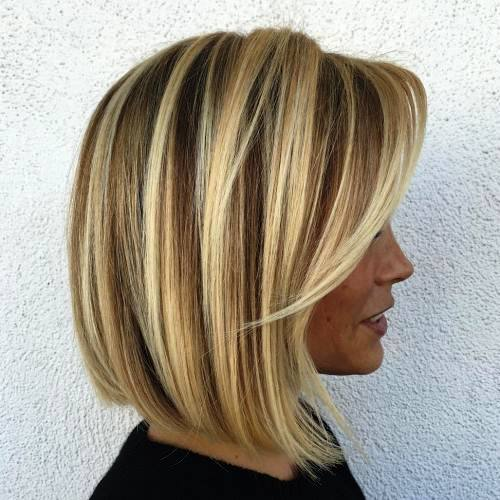 Symmetric Bob with Slight Layers for Medium Length Sleek Hair