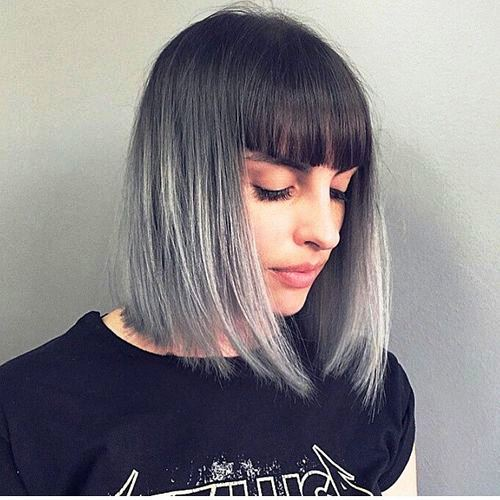 Adorable Side parted Bob with Jet Black Bangs