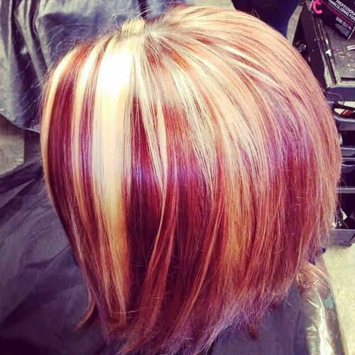 Blonde Bob with Red Streaks