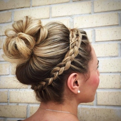 Crown Braid with a High Bun