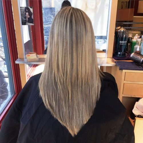Long V-Cut with Blondes