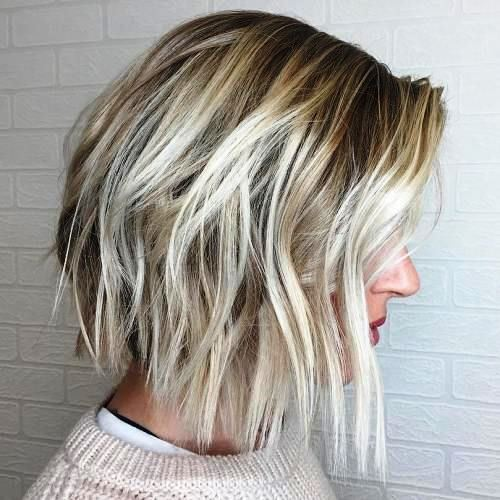 Bob with Platinum Balayage