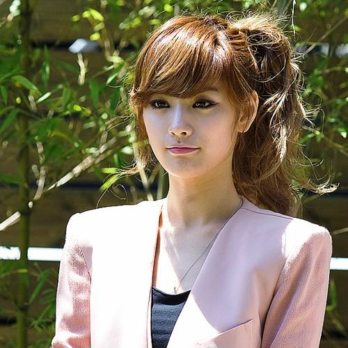 Wavy Ponytails with Bangs