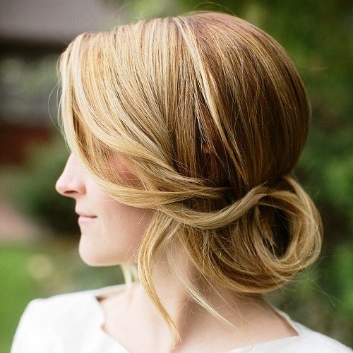 Low Chignon with Bangs
