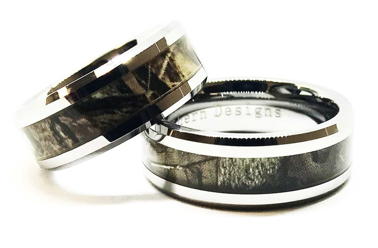 His and Hers Camo Ring Set