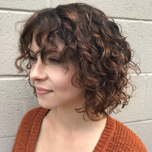 Lob curly hair with bangs