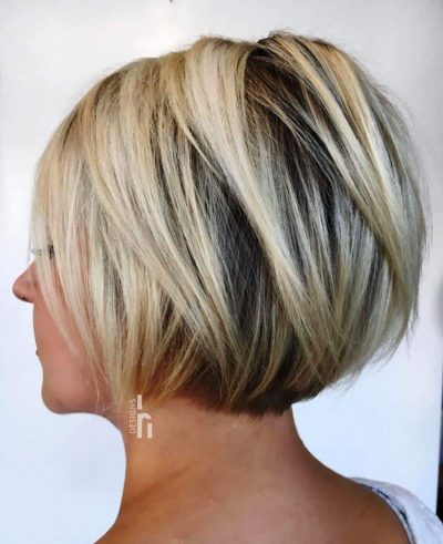 Blonde Layered Jaw-Length Bob Hairstyles for women over 60