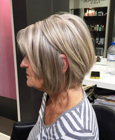 Dishwater Blonde Layered Bob Hairstyles for Women Over 60